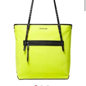 Michael kors neon green nylon tote bag